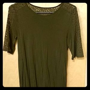Olive top with lace